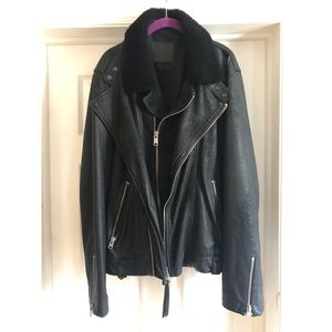 All Saint Shearling Collar Leather Jacket